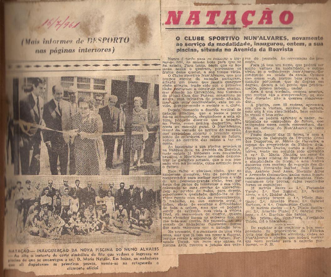 """Inauguração da """"nova piscina"""", 1961"""
